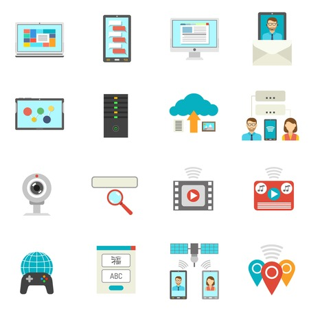 IT flat icons set with technical support symbols isolated vector illustration Illustration