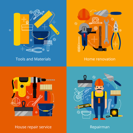 家修理サービスやリフォーム フラット アイコンを設定する力と手のツール材料と絶縁修理ベクトル図