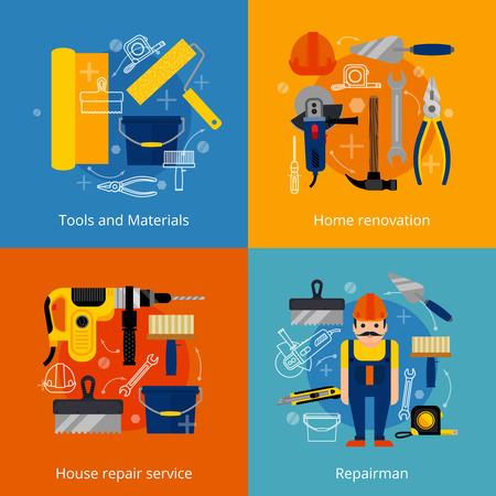 Huis reparatie en renovatie van woningen plat pictogrammen die met macht en handgereedschap materialen en reparateur geïsoleerde vector illustratie