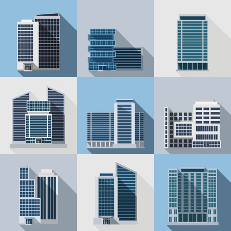 Office and business buildings flat long shadow icons set isolated vector illustration