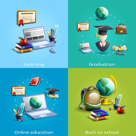School university and online education and learning cartoon icons set shadow isolated vector illustration