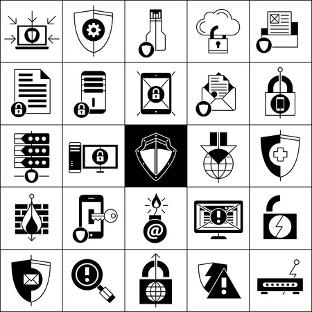 protection line: Data protection line black white icons set with shields locks and mail flat isolated  vector illustration