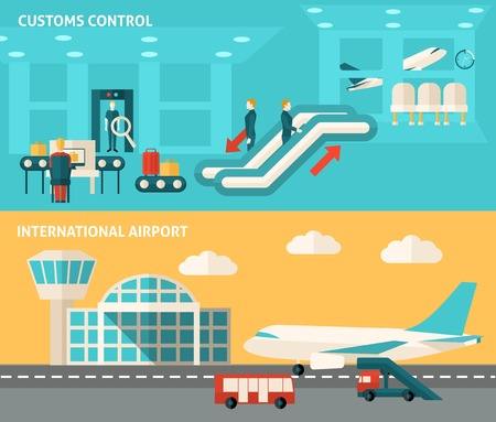 airport security: Airport horizontal banner set with customs control flat elements isolated vector illustration
