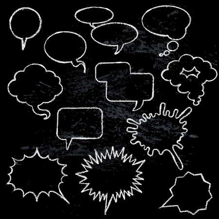 narration: Comic speech bubbles icons collection various shapes on black background white outlined contours abstract isolated vector illustration Illustration