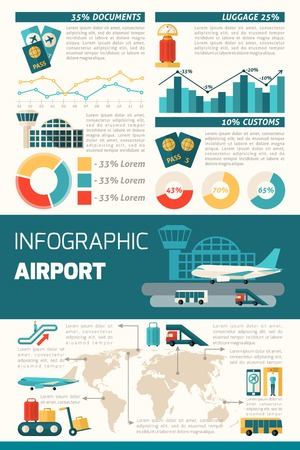 set going: Airport infographics set with travel symbols and charts vector illustration