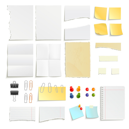 sheet of paper: Clips pins and various note paper stripe ragged stick realistic object set isolated vector illustration