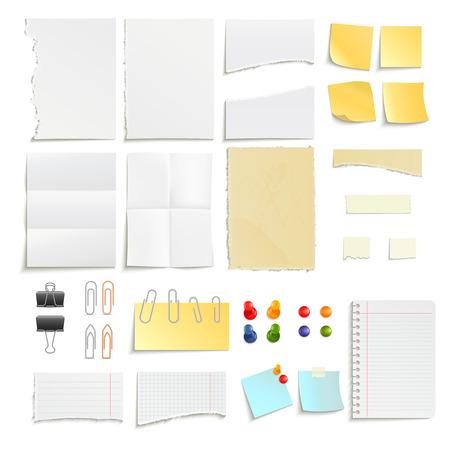 Clips Stifte und verschiedene Notenpapier Streifen zerlumpten Stick realistische Objekt festgelegt isoliert Vektor-Illustration Standard-Bild - 42462463