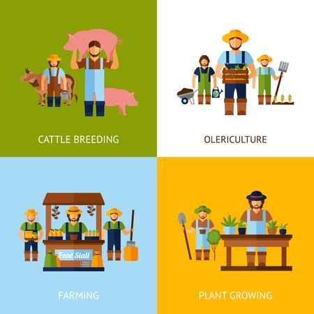 농부 디자인 개념은 가축 사육과 식물 평면 아이콘을 격리 벡터 일러스트 레이 션 성장 설정 일러스트