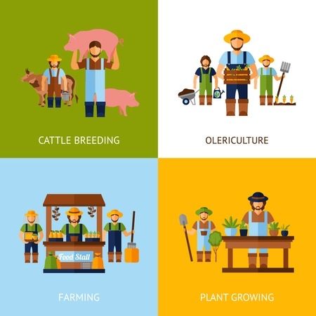 farmer: Farmers design concept set with cattle breeding and plant growing flat icons isolated vector illustration