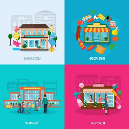 carro supermercado: Tiendas diferentes edificios, tales como ropa de comestibles salones de belleza y supermercados iconos conjunto aislado plana ilustración vectorial