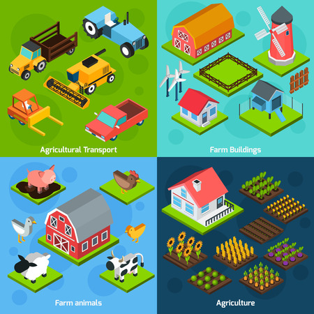 granja: Edificios agrícolas y de transporte agrícola instalaciones de maquinaria 4 isométrica composición iconos cuadrados conjunto abstracto aislado ilustración vectorial