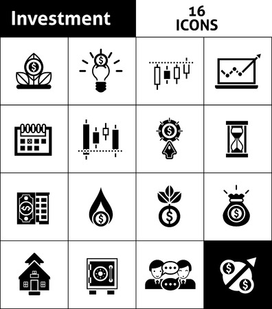 stock trader: Investment and stock trader black icons set isolated vector illustration