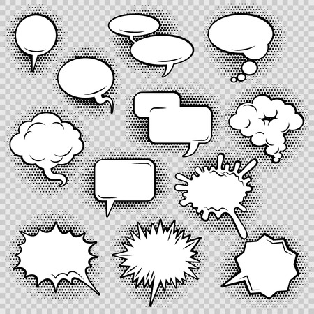 chat bubbles: Comic speech bubbles icons collection of cloud oval rectangle and jagged shape contours abstract isolated vector illustration Illustration
