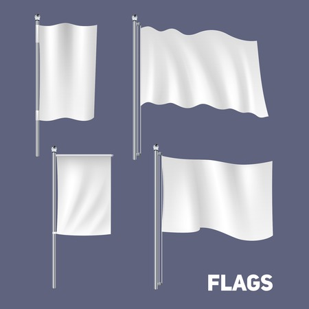 rectangle: Realistic blank white waving flags and banners set isolated vector illustration
