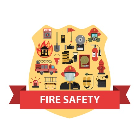fire alarm: Fire concept with firefighter badge and safety icons flat vector illustration