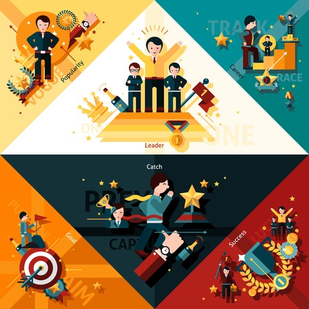 achieve: Success corners set with popularity leader and career flat elements isolated vector illustration