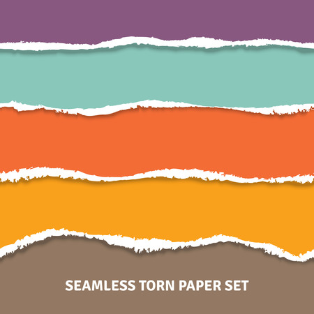 separated: Torn color horizontal stripes separated white paper set seamless concept vector illustration