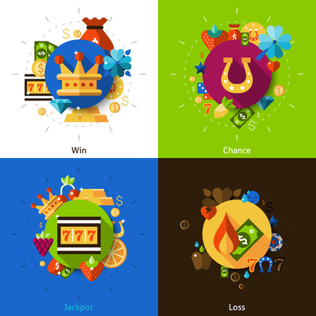 win money: Slot machine concept with win chance jackpot and loss icons set flat isolated vector illustration