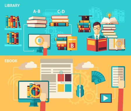book design: Electronic books and paper library search download and read flat color horizontal banner set isolated vector illustration