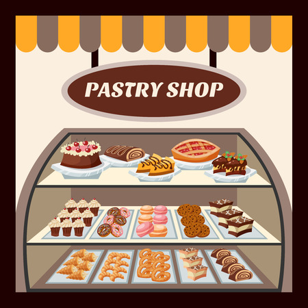 pastry shop: Pastry shop background with tasty cakes pies biscuits and donuts flat vector illustration