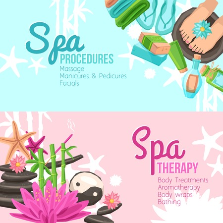 spa therapy: Spa therapy and procedures horizontal banners set isolated vector illustration Illustration