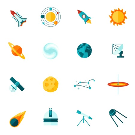 Space universe planet satellite shuttle telescope star and  constellation flat color icon set isolated vector illustration