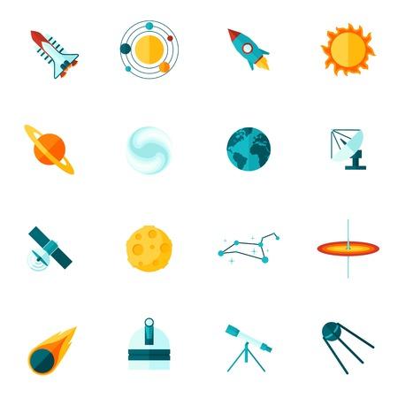universum: Space-Universum Planeten Satelliten Shuttle Teleskop Stern und die Konstellation flache Farbe Icon-Set Vektor-Illustration