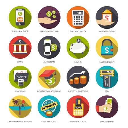 bank icon: Loan flat icons set with check balance personal income tax calculator isolated vector illustration