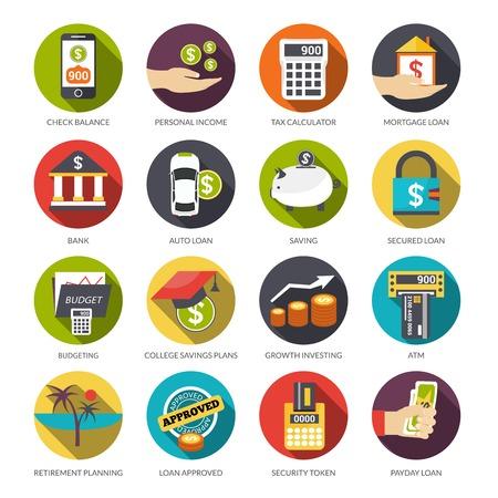 Pożyczka płaskie ikony zestaw z kalkulator podatek dochodowy od osób bilans wyboru samodzielnie ilustracji wektorowych Ilustracje wektorowe