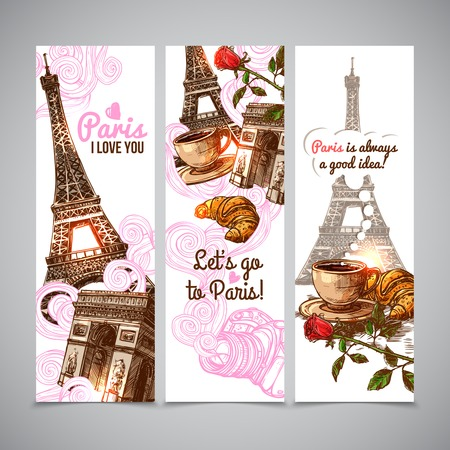 eiffel: Paris vertical banners with sketch eiffel tower coffee cup and croissant isolated vector illustration