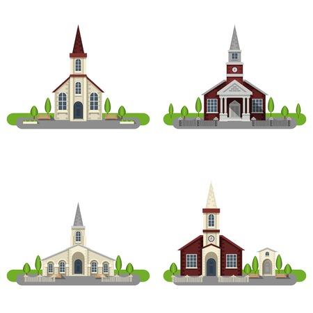 llano: Iglesias de ladrillo blanco y rojo y capillas con aislados jardines color plano icono decorativo conjunto ilustración vectorial Vectores