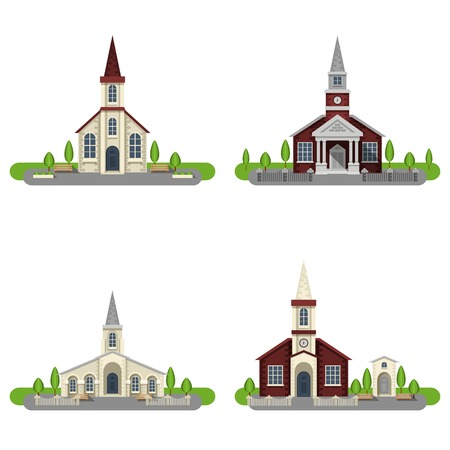 catholic church: White and red brick churches and chapels with gardens flat color decorative icon set isolated vector illustration