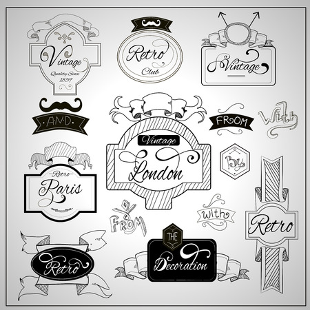 notion: Retro design nostalgic elements with catchwords ribbons and moustaches on whiteboard black felt pen abstract vector illustration Illustration