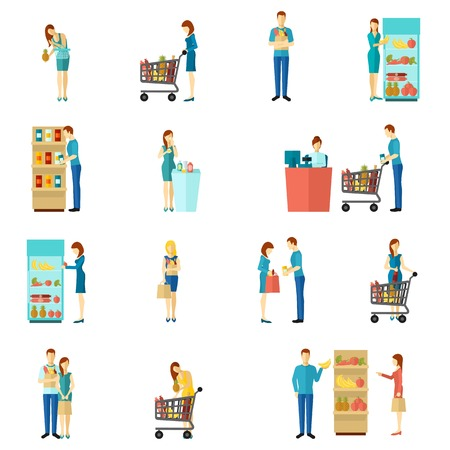 Buyers and customers people man and woman shopping choice flat color icon set isolated vector illustration Ilustracja