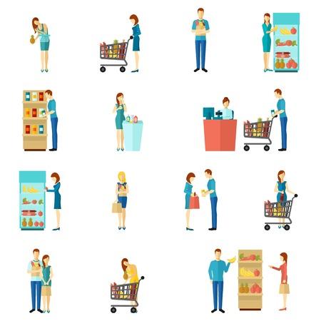 simbolo uomo donna: Gli acquirenti ei clienti persone uomo e donna shopping scelta dell'icona colore piatto set isolato illustrazione vettoriale Vettoriali