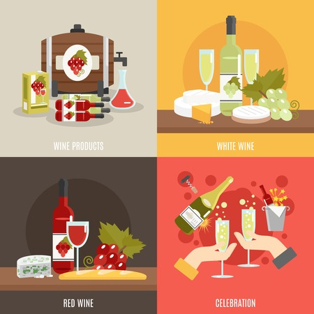 cooler: Red and white wine design concept set with celebration flat icons isolated vector illustration