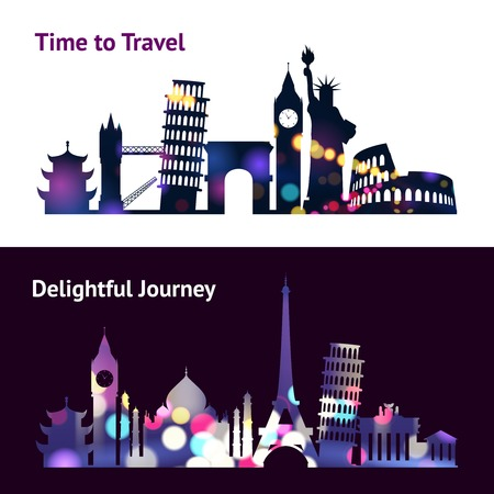 Travel horizontal banners set with world landmark silhouettes in spotlight isolated vector illustration