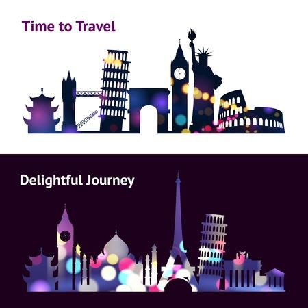 spotlight: Travel horizontal banners set with world landmark silhouettes in spotlight isolated vector illustration