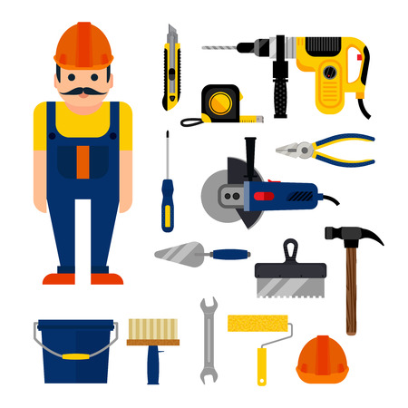 repairs: DIY home repairs power and hand tools decorative set in flat style with workman isolated vector illustration