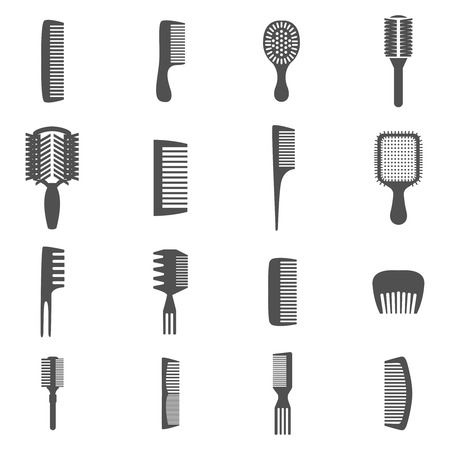 hairbrush: Combs and hair fashion equipment black flat icons set isolated vector illustration