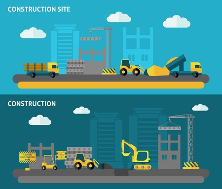 skid steer: Construction horizontal banner set with flat building tools elements isolated vector illustration Illustration