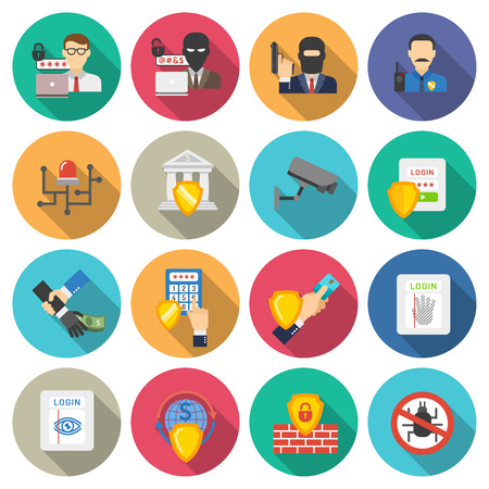 bank robber: Internet banking operations safety flat icons set with detecting malware protective shield round abstract isolated vector illustration