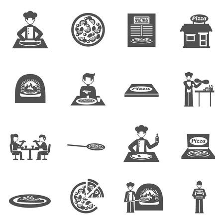 pizza box: Pizzería y entrega de pizza blanco iconos conjunto negro con la ilustración vectorial aislados plana horno y menú