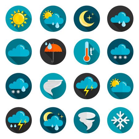 Weather conditions signs rain cloud sun and temperature flat color icon set isolated vector illustration Illustration