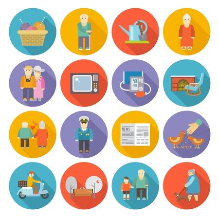sillon: Pensionistas iconos de estilo de vida plana establecen con mecedora tejer s�mbolos de jardiner�a aislados ilustraci�n vectorial
