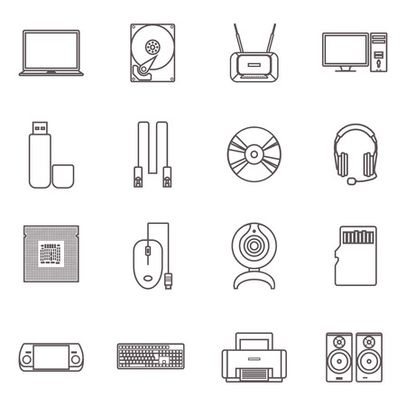 computer hardware: PC and computer gadgets with accessories and hardware flat grey outline icon set isolated vector illustration Illustration