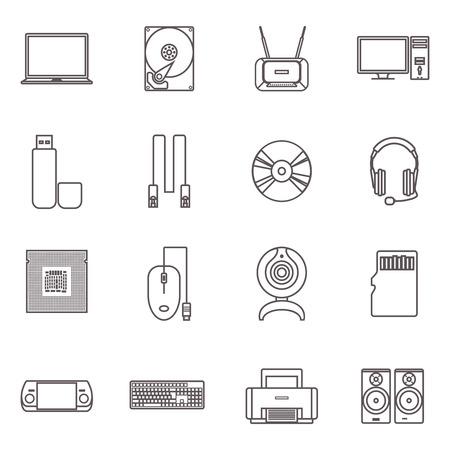 icono computadora: PC e informáticos gadgets con accesorios y hardware plana icono contorno gris conjunto aislado ilustración vectorial
