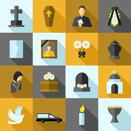death: Funeral icons flat long shadow set with ash candle church isolated vector illustration
