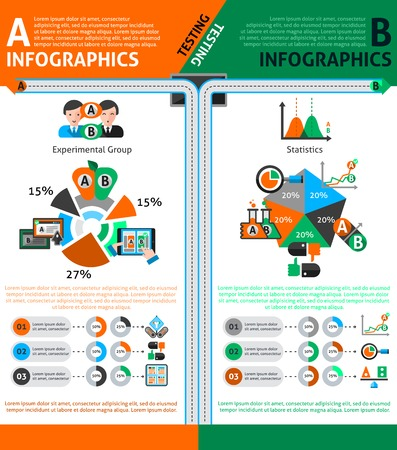 A-b testing infographics set with choice and comparison symbols and charts vector illustration