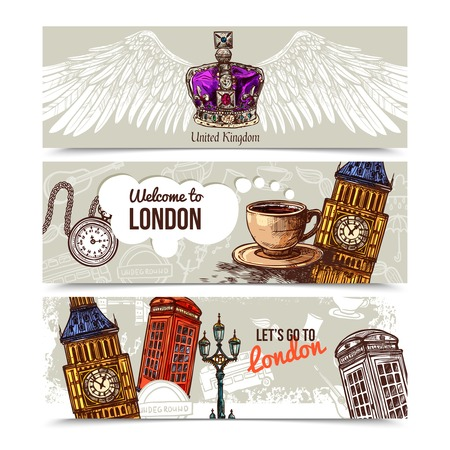 london: London horizontal banners set with sketch famous travel symbols isolated vector illustration